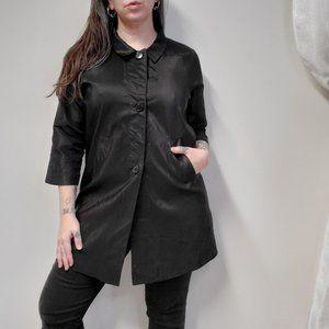 ROZAE NICHOLS Black Silk Tunic Top w/ Pockets